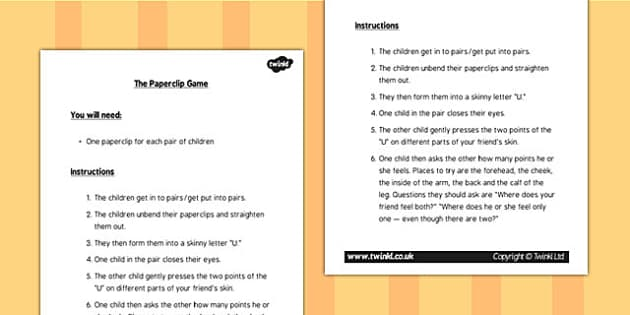 KS1 Science Senses Touch Paperclip Game Instructions - sense game