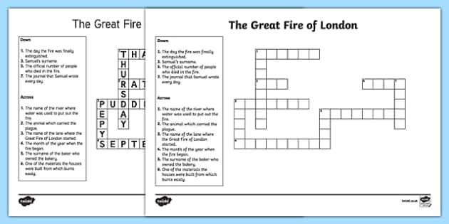 The Great Fire of London Crossword
