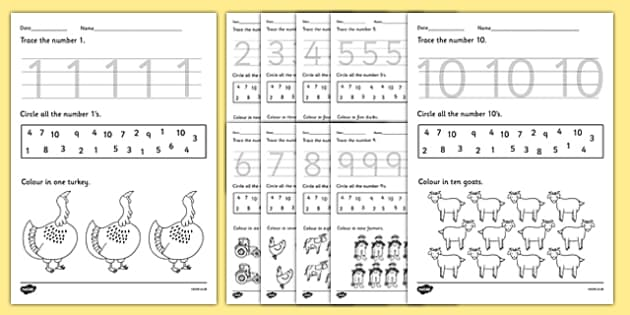 Farm Identifying Numbers Worksheets - number, numeracy, maths