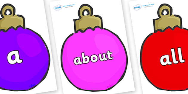 100 High Frequency Words on Plain Baubles (Multicolour) - High frequency words, hfw, DfES Letters and Sounds, Letters and Sounds, display words