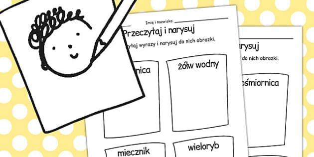 Przeczytaj i narysuj Swiat podwodny po polsku - do pobrania , Polish