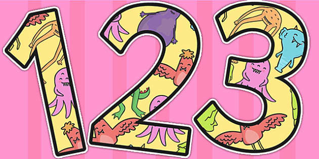 Monster Themed Display Numbers - monster, display, number, letter