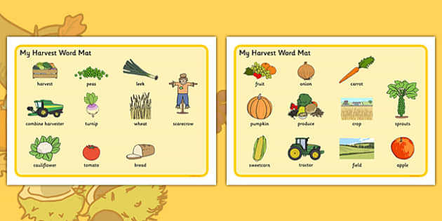Harvest Pre-Teaching Word Mat - harvest, pre-teaching, word mat