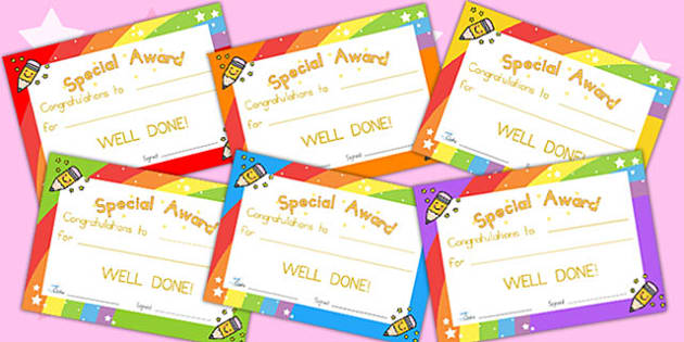 Special Award Certificates - award, reward, certificates, behave