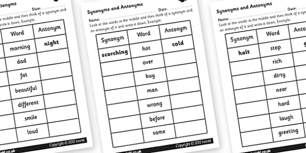 Synonyms and Antonyms Worksheet synonyms and antonyms synonym – Antonyms and Synonyms Worksheet