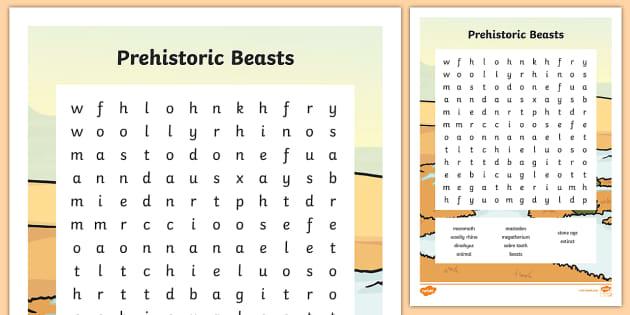 Prehistoric Beasts Wordsearch - prehistoric, word search, words