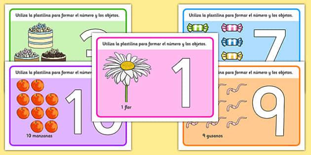 Spanish número Playdough Mats 1-10 - spanish, Playdough mat, playdough resources, numeracy, numbers, playdough