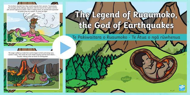 Ruaumoko The God of Earthquakes and Volcanoes PowerPoint - ruaumoko, ruamoko, ruaimoko, earthquakes, volcanoes, ruwhenua, rūwhenua, kumekume a Ruaumoko, maori