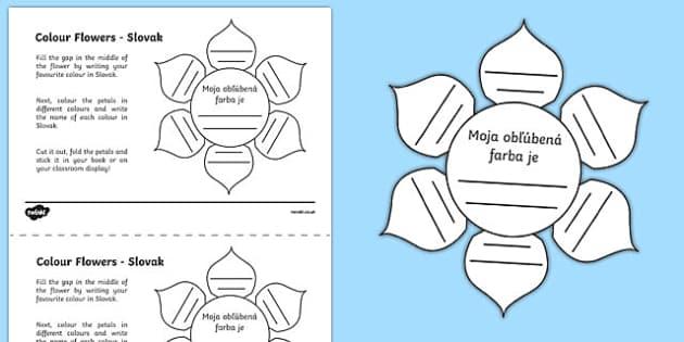 MFL Slovak Colour Flowers Activity Sheet, worksheet