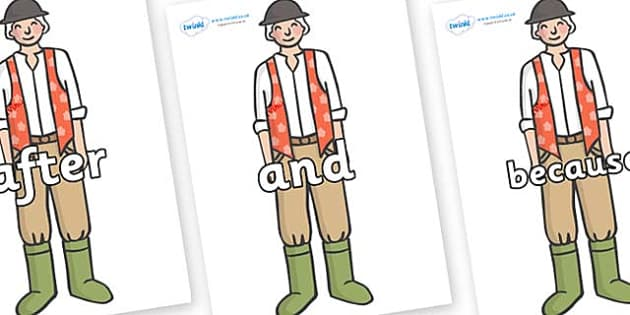 Connectives on Farmer to Support Teaching on Pig in the Pond - Connectives, VCOP, connective resources, connectives display words, connective displays