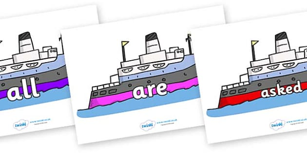 Tricky Words on Boats - Tricky words, DfES Letters and Sounds, Letters and sounds, display, words