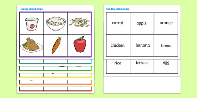 Healthy Eating Food Bingo - bingo, game, activity, eating healthy, healthy, food, food bingo, carrot, apple, fruit, vegetable