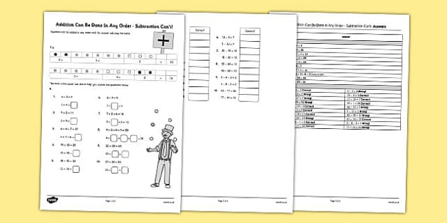 Addition Can Be Done In Any Order Worksheet - addition, can be done, any order, worksheet
