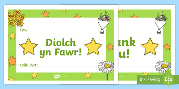 Thank you/Diolch yn Fawr Certificates - Back to school resources, thank you, Diolch yn fawr, thank you certificates.