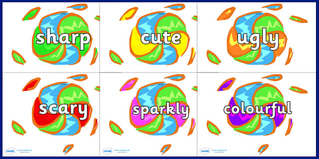 Wow Words on Fireworks - Wow words, adjectives, VCOP, describing, Wow, display, poster, wow display, tasty, scary, ugly, beautiful, colourful sharp, bouncy