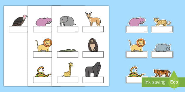 Editable Self Registration Labels to Support Teaching on Rumble in the Jungle - Self registration, register, Story, book, resources, Giles Andreae, David Wojtowycz, editable, labels, registration, child name label, printable labels