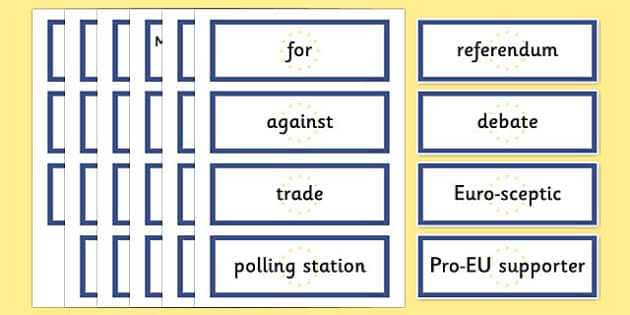 EU Referendum 2016 Keyword Display Cards - EU, referendum , vote, ballot, Thursday 23rd June 2016, European Union, display, keywords, word cards