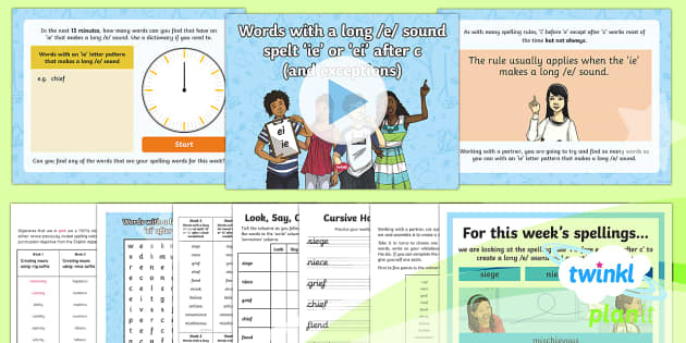 PlanIt Y6 Term 2A W2: Words With a Long /e/ Sound Spelt 'ie' or 'ei' after c (and Exceptions) Spelling Pack - Spellings Year 6, Y6, Year 6, spelling, SPaG, GPS, i before e except after c, weekly, lists, long e,
