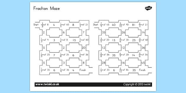 Fractions Maze - australia, fractions, maze, fractions maze