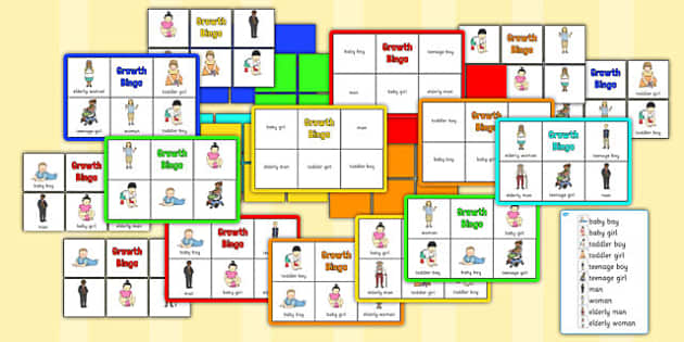 Growth Bingo - growth, bingo, activity, game, grow, human, age