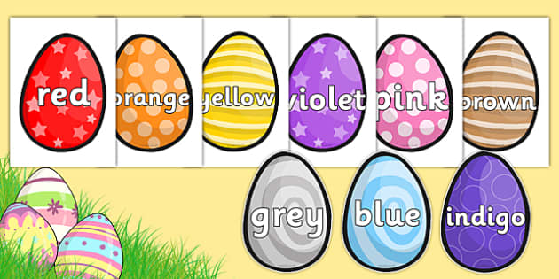 Colour Words on Easter Eggs - colours, colour words, easter, egg