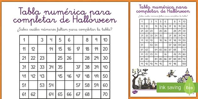 Halloween Tabla numéricapara completar
