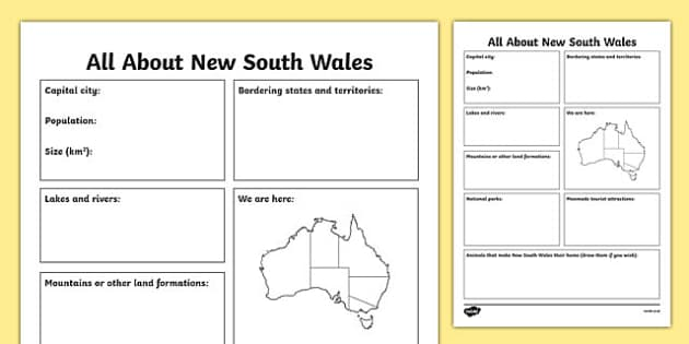 All About New South Wales Research Activity Sheet - australia, Geography, research, questions, questioning, answers, New South Wales, Sydney, facts, states, territories, Australia, worksheet