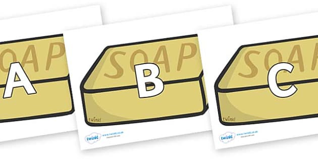 A-Z Alphabet on Soap - A-Z, A4, display, Alphabet frieze, Display letters, Letter posters, A-Z letters, Alphabet flashcards