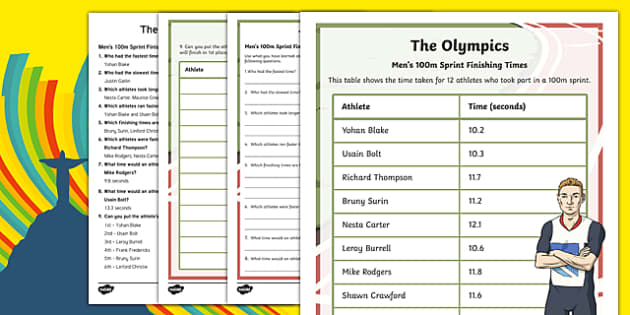 The Olympics Ordering Finishing Times 1 Decimal Place Number Activity Sheet-Scottish, worksheet