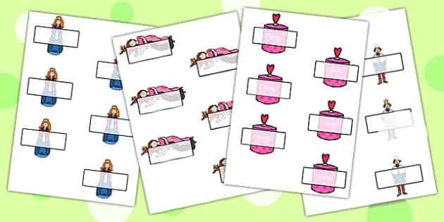 Sleeping Beauty Editable Self Registration - labels, self reg