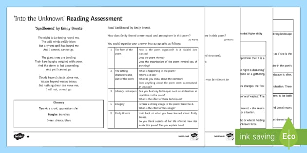 Into The Unknown Lesson Pack 19: Assessment Lesson Pack - Into The Unknown, pre-1914 literature, assessment, Spellbound, Emily Bronte, reading assessment.