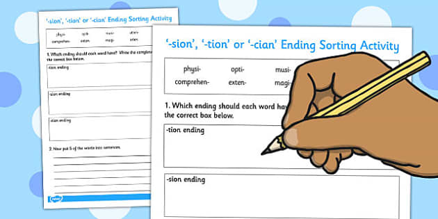 -sion -tion or -cian Ending Sort Activity - end, sort, activity