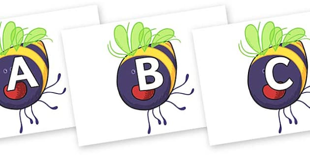 A-Z Alphabet on Bumblebee to Support Teaching on The Crunching Munching Caterpillar - A-Z, A4, display, Alphabet frieze, Display letters, Letter posters, A-Z letters, Alphabet flashcards