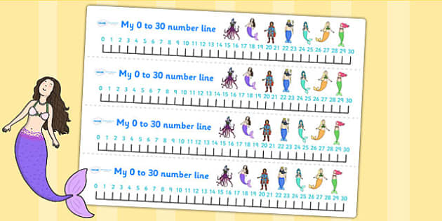 The Little Mermaid Number Lines 0 30 - count, counting aid, maths
