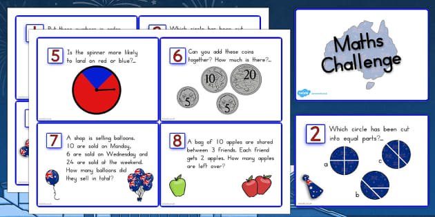 Australia Day Maths Challenge Cards - australia, challenge, cards