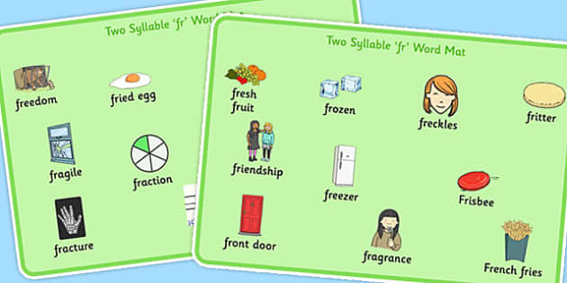Two Syllable FR Word Mats - two syllable, fr, word mats, word, mats, fr sound