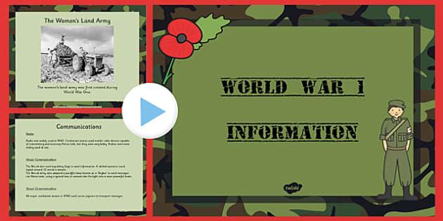 World War One Information PowerPoint - world war one, world war 1, ww1, world war I, world war 1 powerpoint, world war one information, ww1 powerpoint