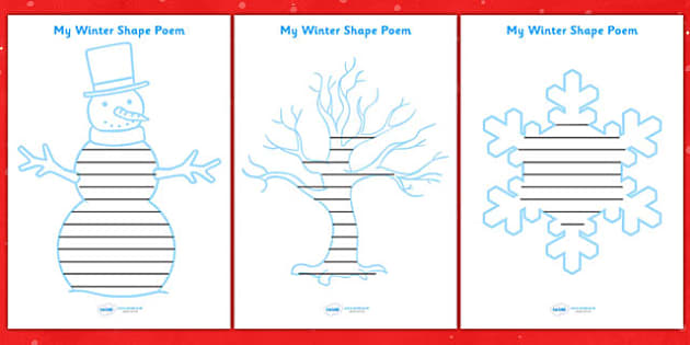 Winter Themed Shape Poetry Templates - winter, poetry, poems, shape poem