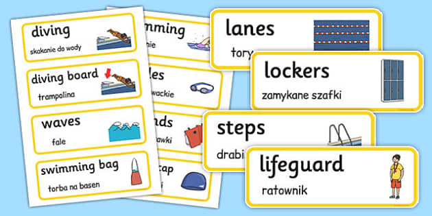 Swimming Pool Word Cards Polish Translation - polish, swimming pool, word cards, word, cards
