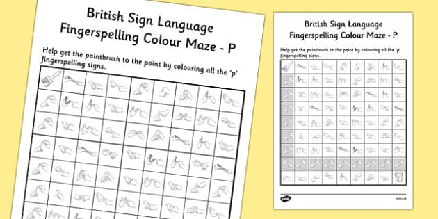 British Sign Language Left Handed Fingerspelling Colour Maze P