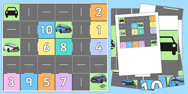 Bee Bot Parking Mat Numbers 1-10 - bee bot, beebot, bee-bot, parking, mat, parking mat, park, numbers, 1-10