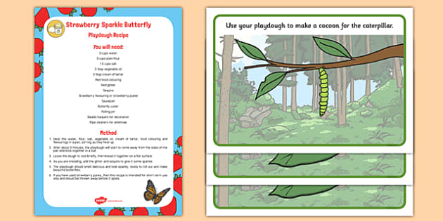 Life Cycle of a Butterfly Playdough Recipe and Mat Pack - EYFS Early years, malleable physical development, UTW, caterpillar, Hungry caterpillar