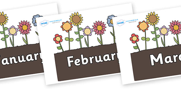 Months of the Year on Flowers in Garden - Months of the Year, Months poster, Months display, display, poster, frieze, Months, month, January, February, March, April, May, June, July, August, September