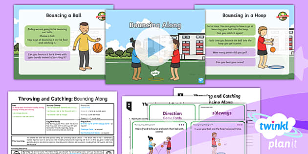PlanIt - Year 1 PE - Throwing and Catching Lesson 2: Bouncing Along Lesson Pack - pe, physical education, planning, ppt, powerpoint, throwing, catching, throw, catch, ball skills, ks