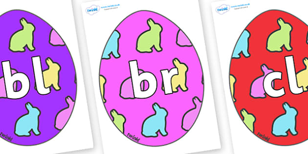 Initial Letter Blends on Easter Eggs (Rabbit) - Initial Letters, initial letter, letter blend, letter blends, consonant, consonants, digraph, trigraph, literacy, alphabet, letters, foundation stage literacy