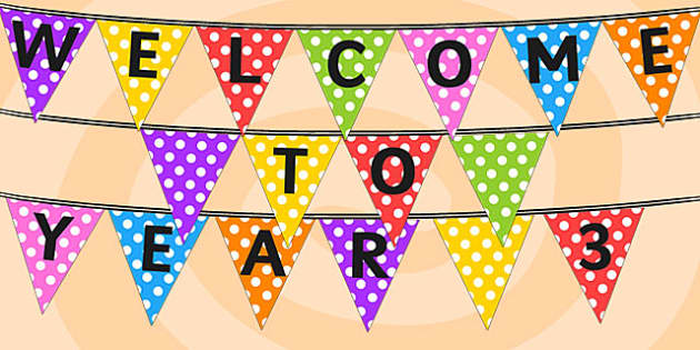 Welcome to Year 3 Bunting - classroom display, flag, welcome sign