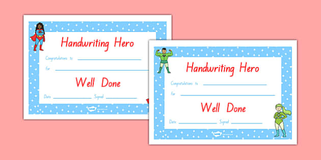 Handwriting Hero Certificate Boys Girls NZ Font - nz, new zealand, handwriting hero, certificate, boys, girls, handwriting, hero
