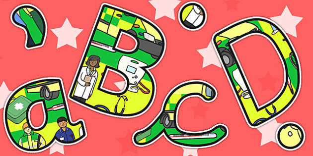 Ambulance Service Themed Size Editable Display Lettering