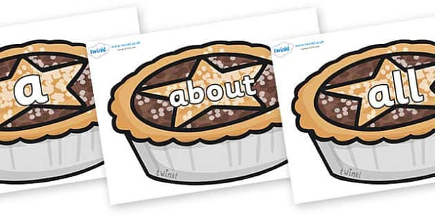 100 High Frequency Words on Mince Pies - High frequency words, hfw, DfES Letters and Sounds, Letters and Sounds, display words