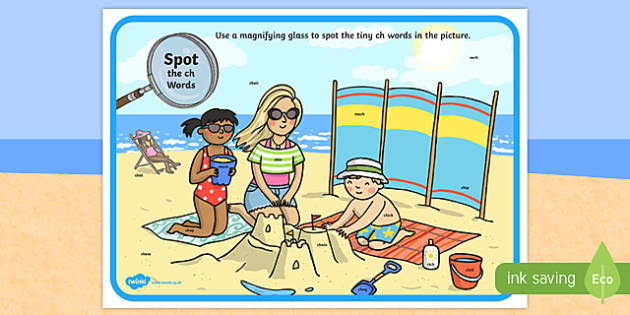 Phase 3 ch Words Beach Scene Magnifying Glass Activity Sheet, worksheet